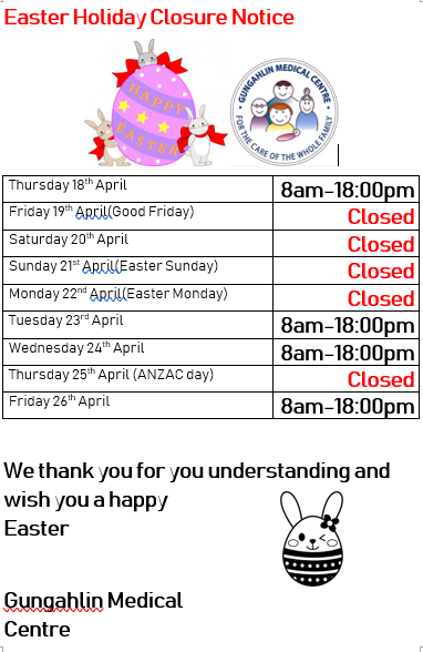 Easter Holiday notice 2019
